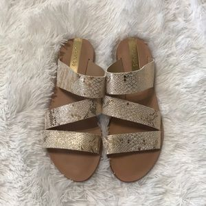 Anthropologie Kaanas snakeskin slip on sandals